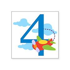 "4th Birthday Airplane Square Sticker 3"" x 3"""