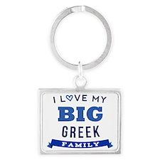 I Love My Big Greek Family Landscape Keychain