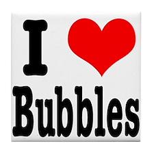 I Heart (Love) Bubbles Tile Coaster