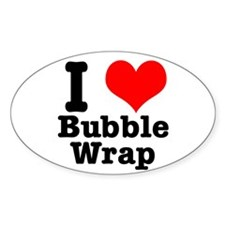 I Heart (Love) Bubble Wrap Oval Decal