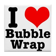 I Heart (Love) Bubble Wrap Tile Coaster