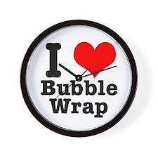 I Heart (Love) Bubble Wrap Wall Clock
