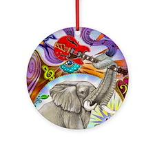 Musical Elephant Round Ornament
