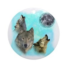 Wolves Siney Grim Moon 0 Round Ornament