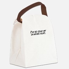 I'm so cold my ovaries hurt. Canvas Lunch Bag