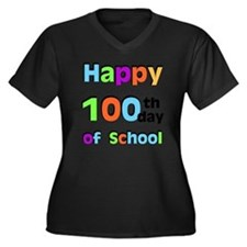 Happy 100th  Women's Plus Size Dark V-Neck T-Shirt