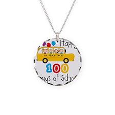 School Bus Celebrate 100 Day Necklace