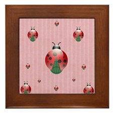 colorful lady bugs - pink Framed Tile