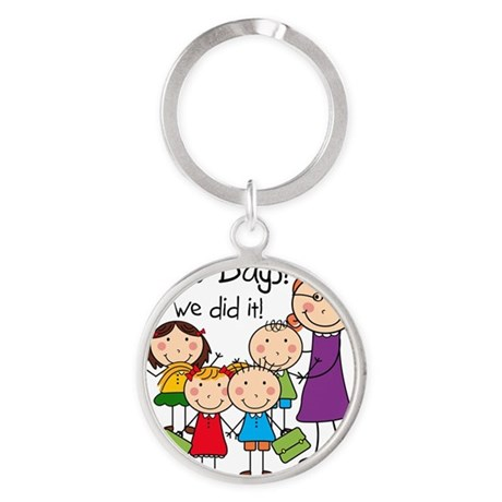 Kids and Female Teacher 100 Days Round Keychain