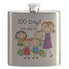 Kids and Female Teacher 100 Days Flask