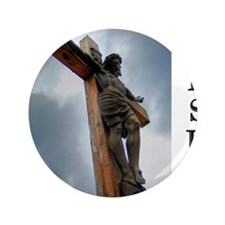 """Jesus on the Cross 3.5"""" Button"""