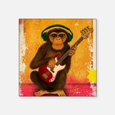 "Funky Monkey Bass Player Square Sticker 3"" x 3"""
