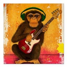 "Funky Monkey Bass Player Square Car Magnet 3"" x 3"""