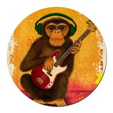 Funky Monkey Bass Player Round Car Magnet