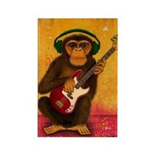 Funky Monkey Bass Player Rectangle Magnet