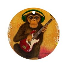 Funky Monkey Bass Player Round Ornament