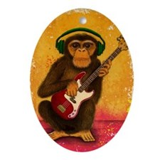 Funky Monkey Bass Player Oval Ornament