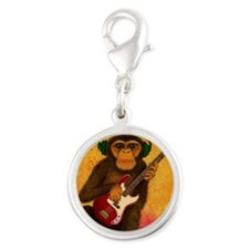 Funky Monkey Bass Player Silver Round Charm