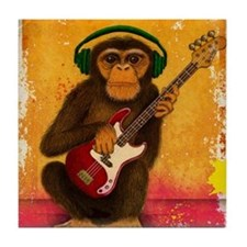 Funky Monkey Bass Player Tile Coaster