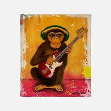 Funky Monkey Bass Player Throw Blanket