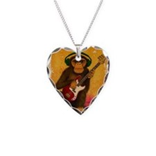 Funky Monkey Bass Player Necklace Heart Charm