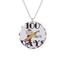 Stick Figure 100 Days Necklace Circle Charm