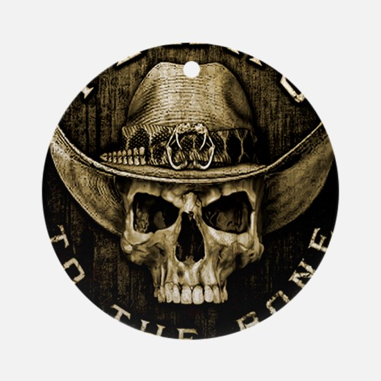 Texas to the bone Round Ornament