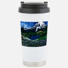 Mt Rainier with Blue Sk Stainless Steel Travel Mug