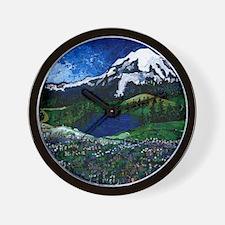 Mt Rainier with Blue Sky Wall Clock