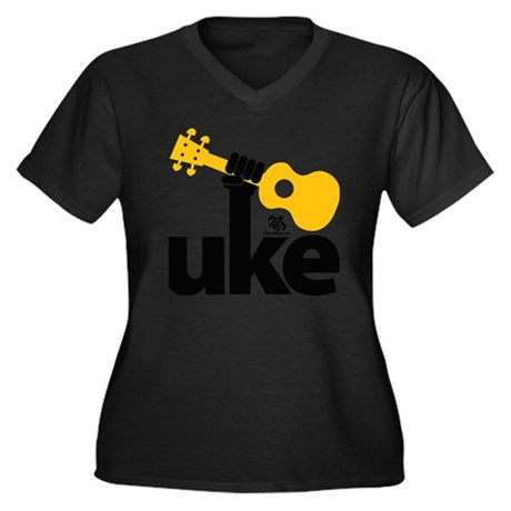 Uke Fist Women's Plus Size Dark V-Neck T-Shirt
