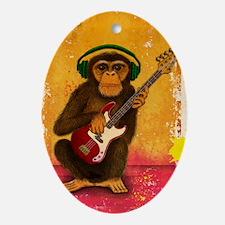 Funky Monkey Bass Player Oval Ornament