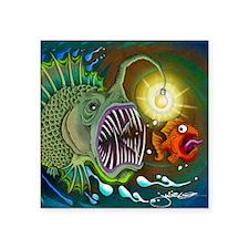 """Angler Fish Square Sticker 3"""" x 3"""""""