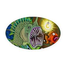 angler Fish Oval Car Magnet