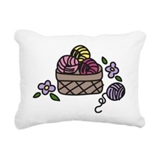 Knitting Yarn Rectangular Canvas Pillow