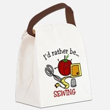 Rather Be Sewing Canvas Lunch Bag