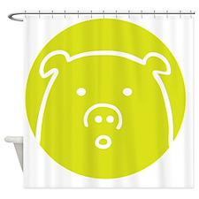 Cute Green Piggy Design Shower Curtain