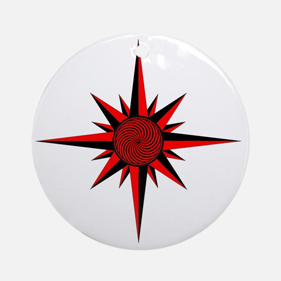 Red Compass Rose Round Ornament