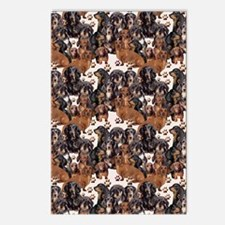 dachshunds and paw prints Postcards (Package of 8)