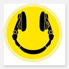 "Headphone Smilie Square Car Magnet 3"" x 3"""