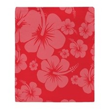 Red Hibiscus Hawaii Print Throw Blanket