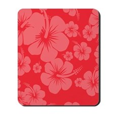 Red Hibiscus Hawaii Print Mousepad