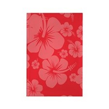 Red Hibiscus Hawaii Print Rectangle Magnet