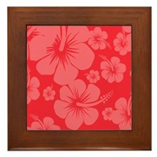 Red Hibiscus Hawaii Print Framed Tile
