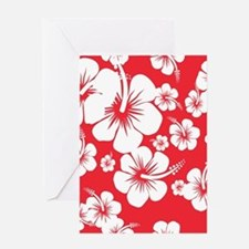 Red and White Hibiscus Hawaii Print Greeting Card