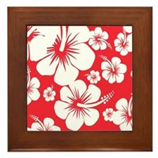 Red and White Hibiscus Hawaii Print Framed Tile