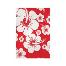 Red and White Hibiscus Hawaii Pri Rectangle Magnet