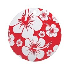 Red and White Hibiscus Hawaii Print Round Ornament