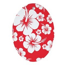 Red and White Hibiscus Hawaii Print Oval Ornament