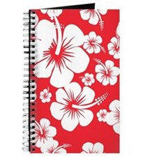 Red and White Hibiscus Hawaii Print Journal
