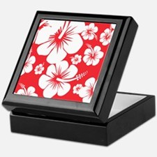 Red and White Hibiscus Hawaii Print Keepsake Box